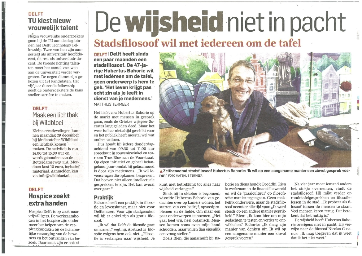 Stadsfilosoof Delft in Algemeen Dagblad